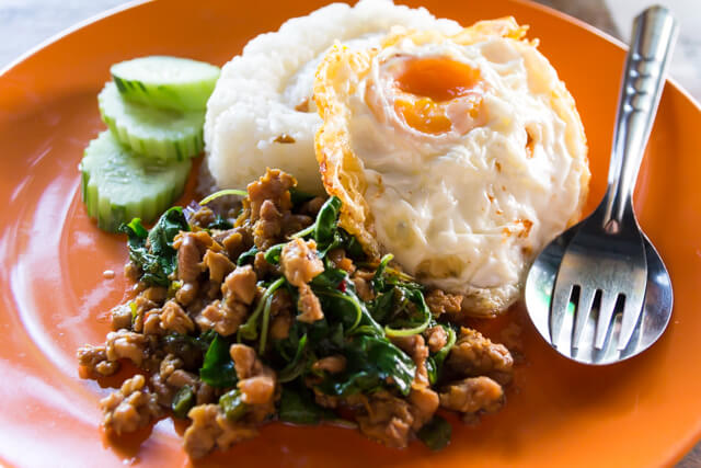 chiken-fried-basil-leafs-and-fried-egg