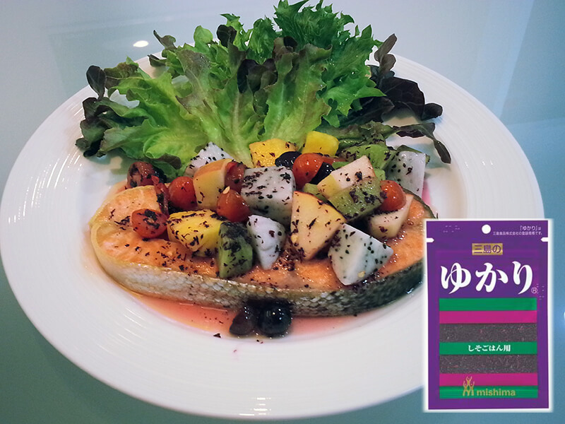 Salmon with friut salad yukari copy