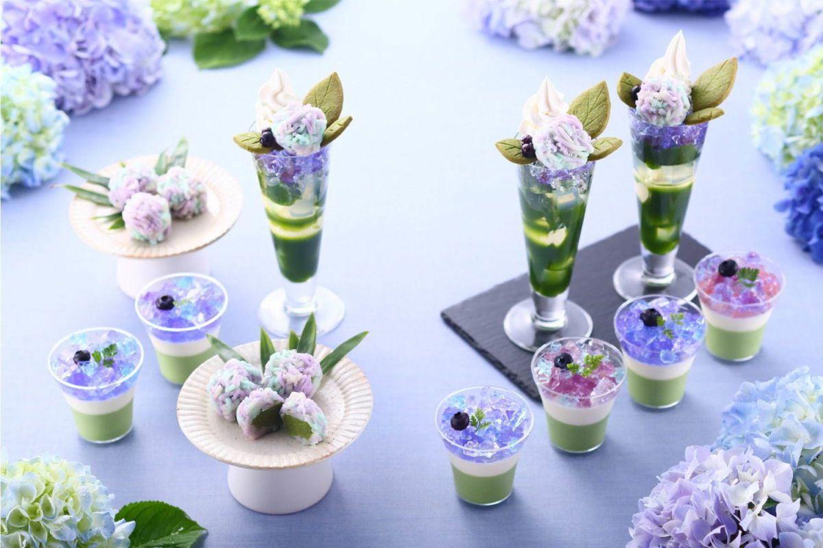 """""""Ajisai Parfait"""" สีสันสดใสพาสเทล ต้อนรับฤดูดอกไฮเดรนเยียที่เกียวโต"""