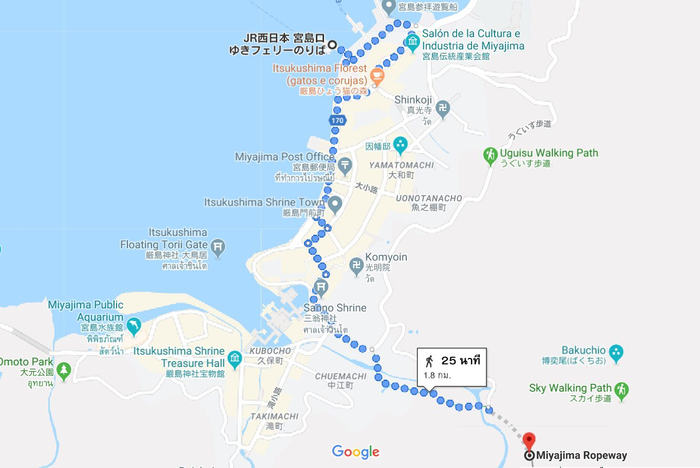 การเดินทางไปhiroshima เกาะmiyajima