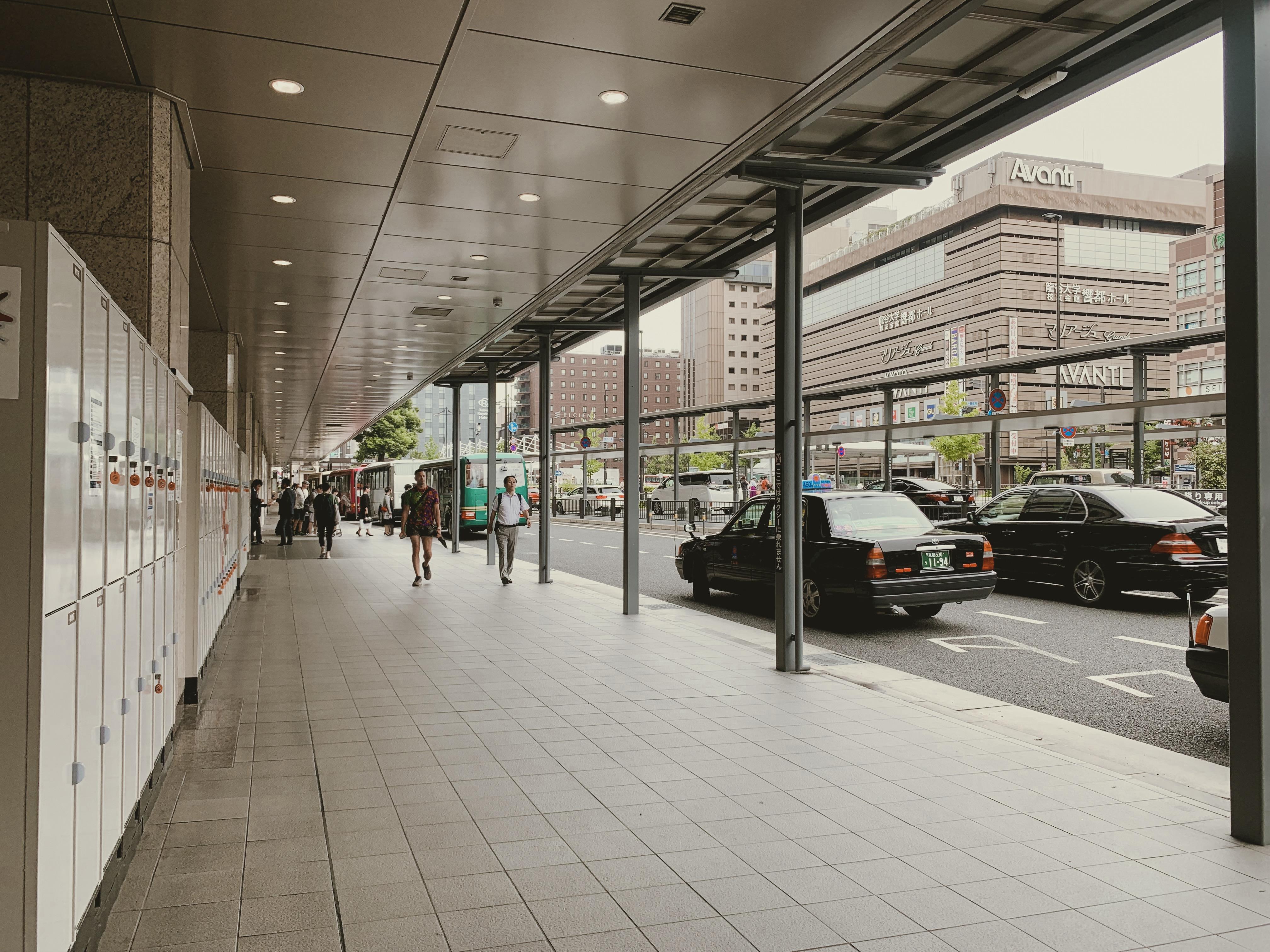จุดขึ้น Kyoto Bus ที่ทางออก 4 hachijo west sideสถานีเกียวโต