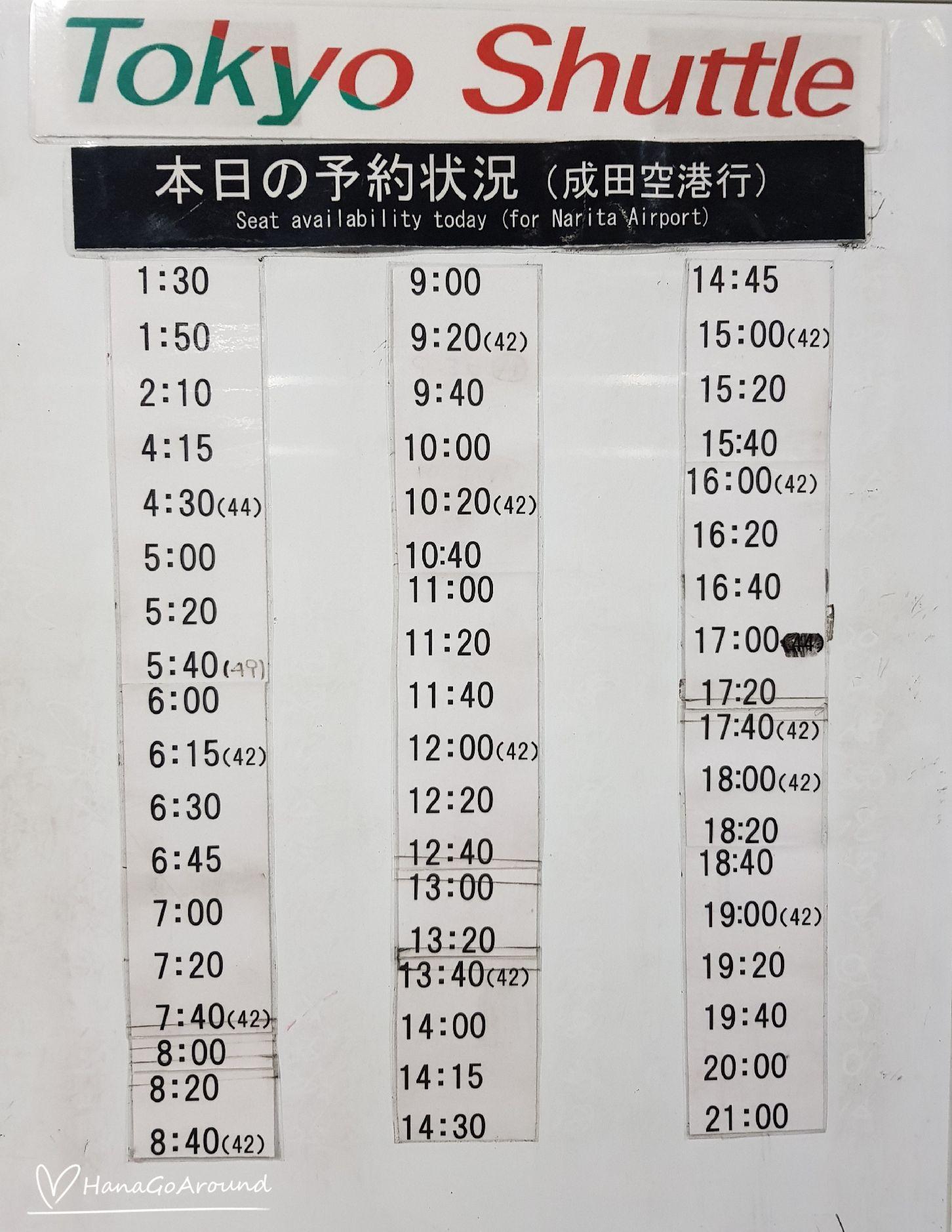 ตารางเวลาเดินรถ Keisei Bus โตเกียว - สนามบินนานาชาตินาริตะ
