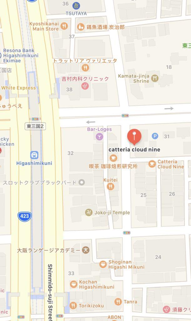 แผนที่คาเฟ่แมว Catteria Cloud Nine ที่ Osaka