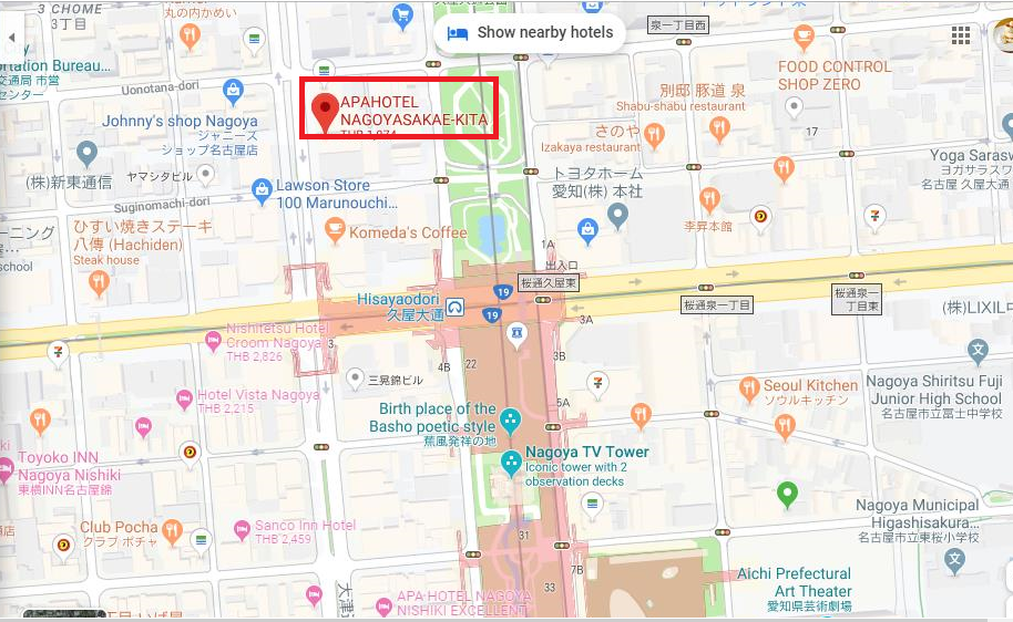 แผนที่โรงแรม APA Hotel Nagoya Sakae Kita ย่านซากาเอะ