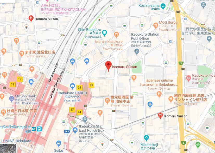 แผนที่ร้านซีฟู๊ดเปิดตลอด 24 ชั่วโมงIsomaru Suisan
