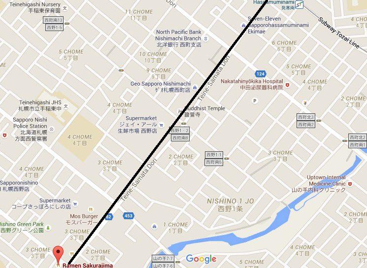 แผนที่ Ramen Sakurajima Sapporo ร้านราเมนรางวัล Best Ramen ปี 2013