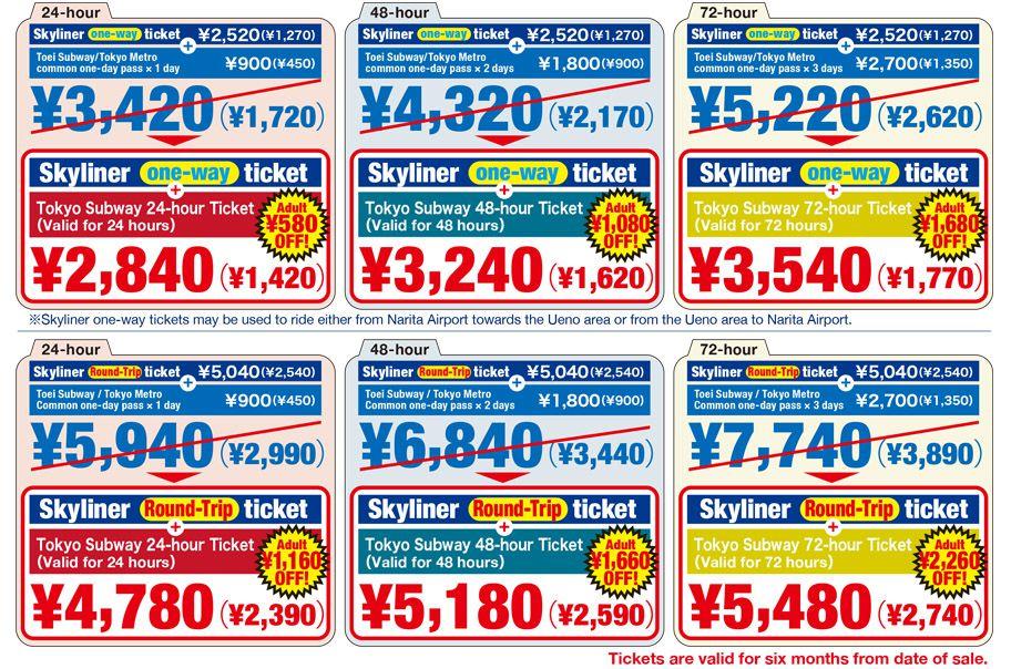 ราคาตั๋วรถไฟ SkyLine แบบต่าง ๆ
